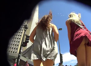 Gorgeous upskirt flick with 2..