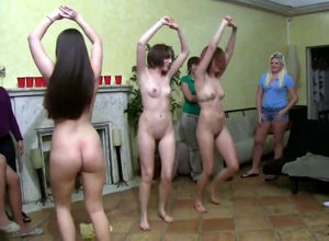 Young woman school lesbos dancing and..