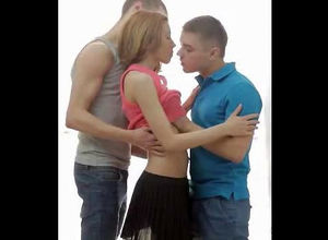 2 guys smooches nubile girl. When nude..